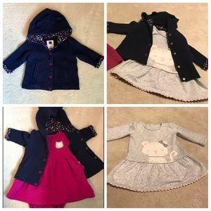 Lot 2 girls Gymboree dresses, 1 coat 12-18 months